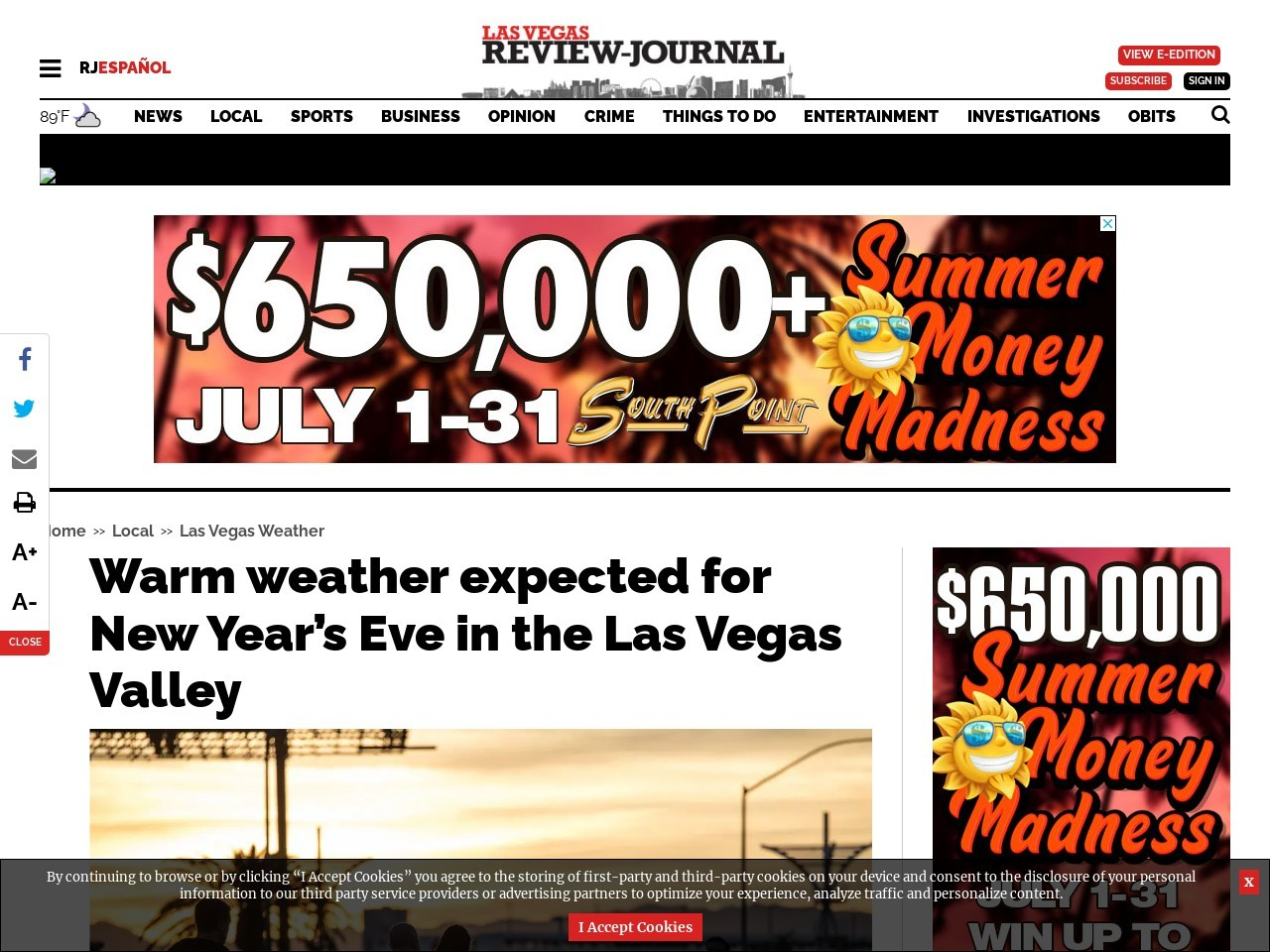 Warm weather expected for New Year's Eve in the Las Vegas Valley