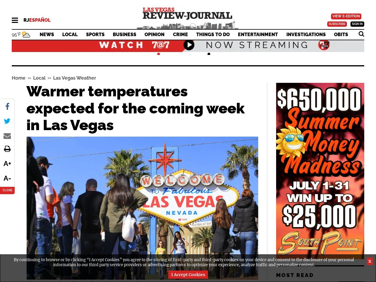 Warmer temperatures expected for the coming week in Las Vegas