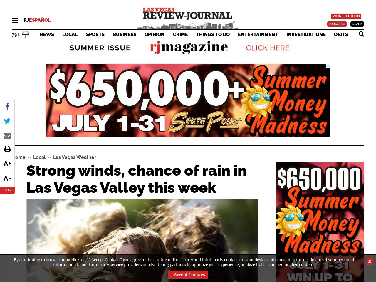 Wind advisory issued for Wednesday in Las Vegas Valley