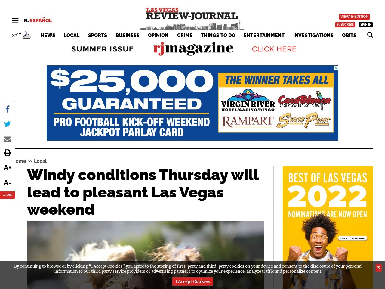 Windy conditions Thursday will lead to pleasant Las Vegas weekend