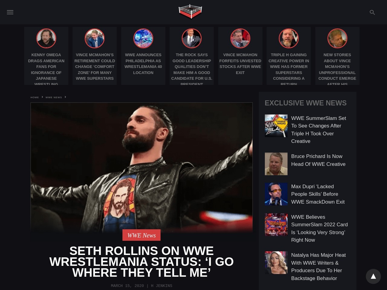 Seth Rollins On WWE WrestleMania Status: 'I Go Where They Tell Me'