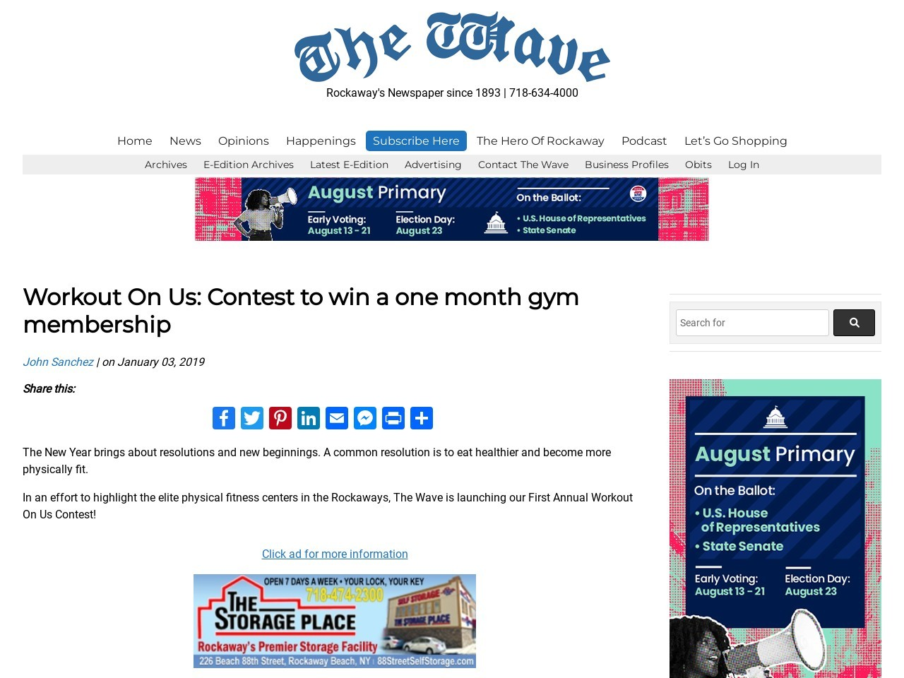 Workout on us contest by the Wave Newspaper