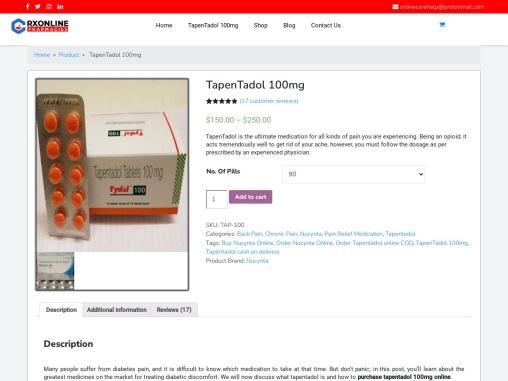 Order Tapentadol 100mg    Cheap TapenTadol (Nucynta) Online