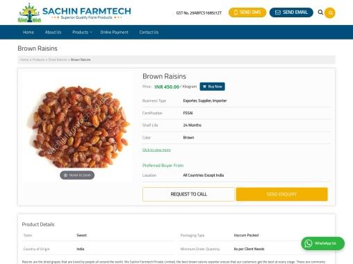 Brown Raisins Suppliers in India