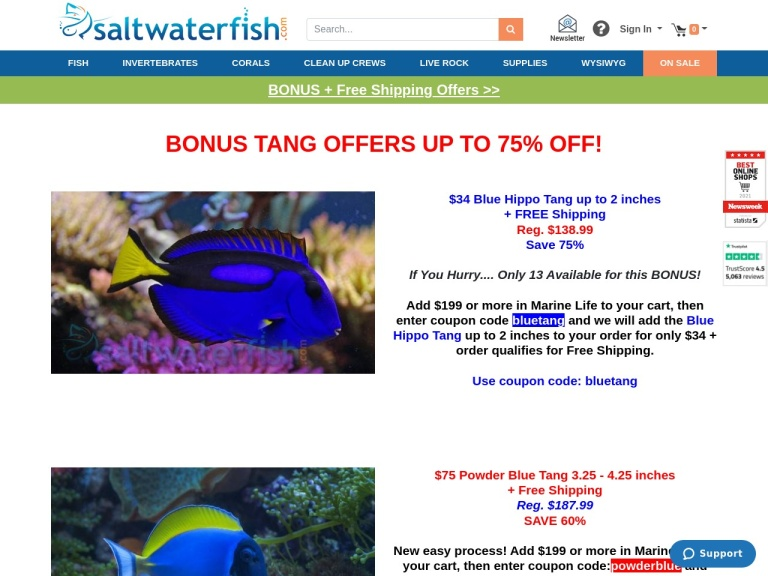Saltwaterfish.com screenshot