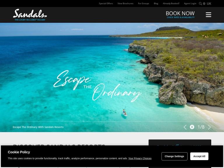 Sandals Resorts screenshot