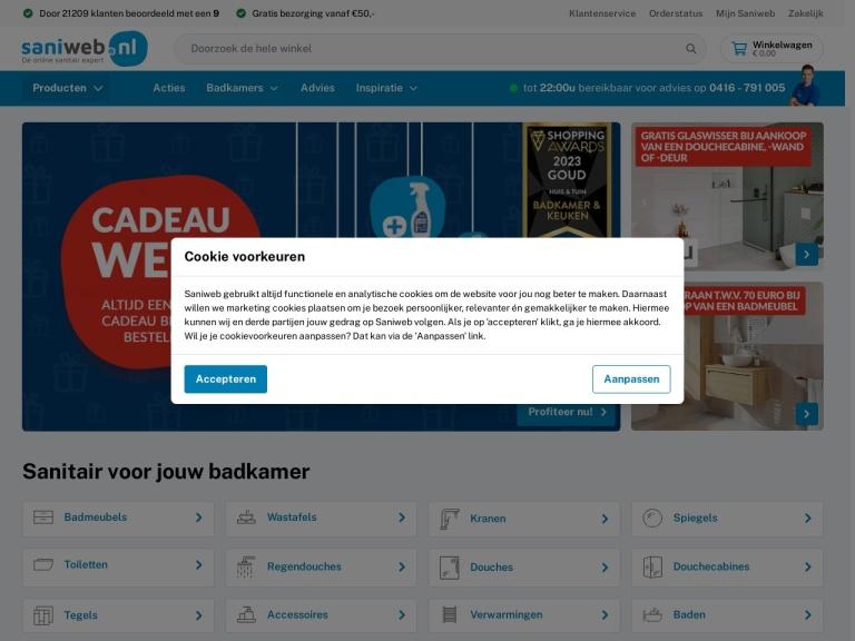 Saniweb.nl aanbiedingen