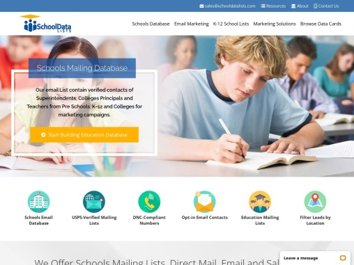 School Data Lists   Education Mailing List   Schools Email Database