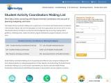 Student Activity Coordinators Mailing List   Verified Contact Data