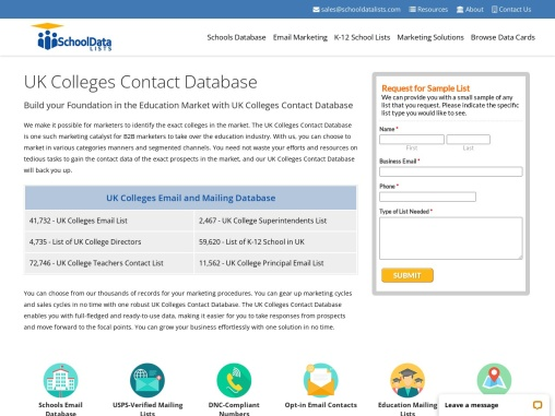 UK Colleges Contact Database | List of Colleges in UK