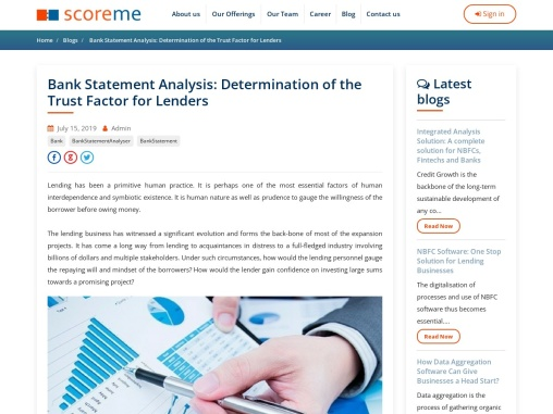 Bank Statement Analysis: Determination of the Trust Factor for Lenders