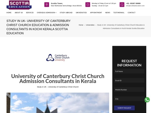 University of Canterbury Christ Church Admission Consultants in Kerala