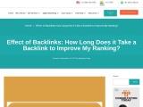Effect of Backlinks: Backlink Improve Ranking