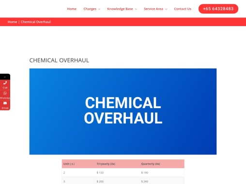 Aircon Chemical Overhaul Service Singapore | Servicing Aircon