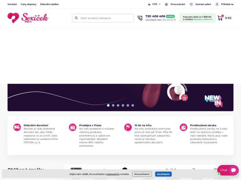 sexicekshop.cz screenshot