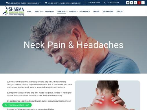 Neck pain treatment in queens | Sharma Rehabilitation Services