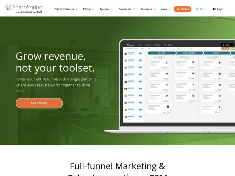 Sharpspring Top Rated Marketing Software screenshot
