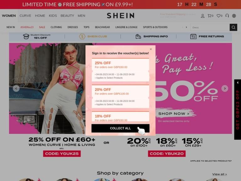 SHEIN United Kingdom screenshot