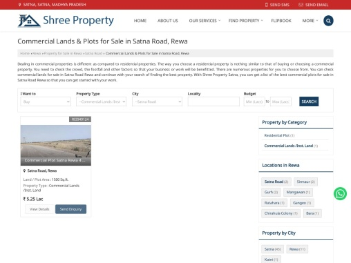 Commercial Lands for Sale in Satna Road Rewa