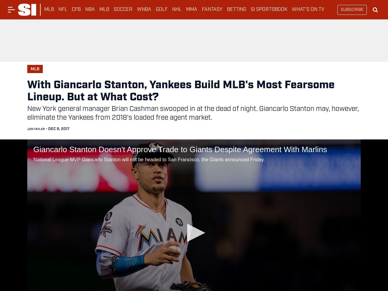 With Giancarlo Stanton, Yankees Build MLB's Most Fearsome Lineup. But at What Cost?