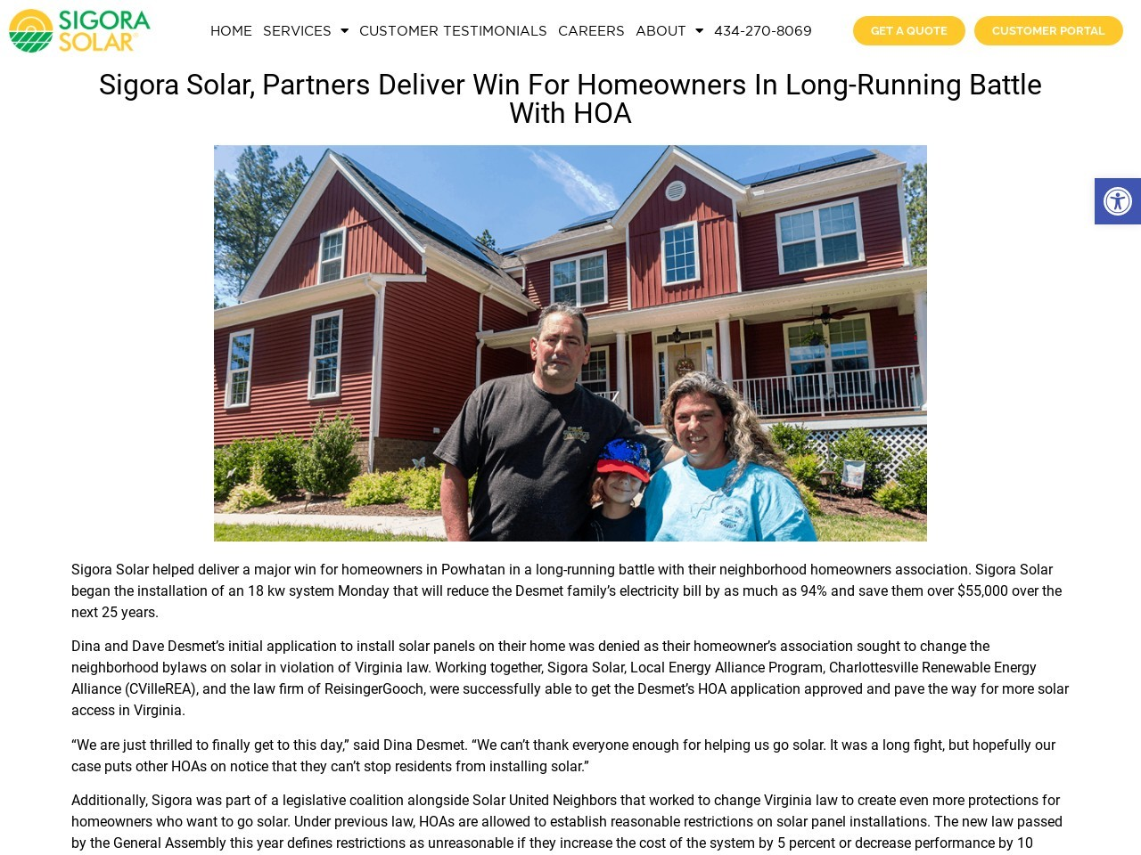 Sigora Solar, Partners Deliver Win For Homeowners In Long-Running Battle With HOA