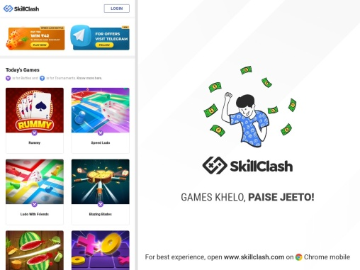 Play games and earn money on SkillClash