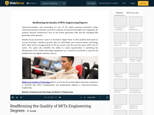 Reaffirming the Quality of MITs Engineering Degrees