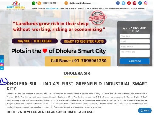 Dholera SIR – India's 1st Greenfield Planned Smart City In Gujarat