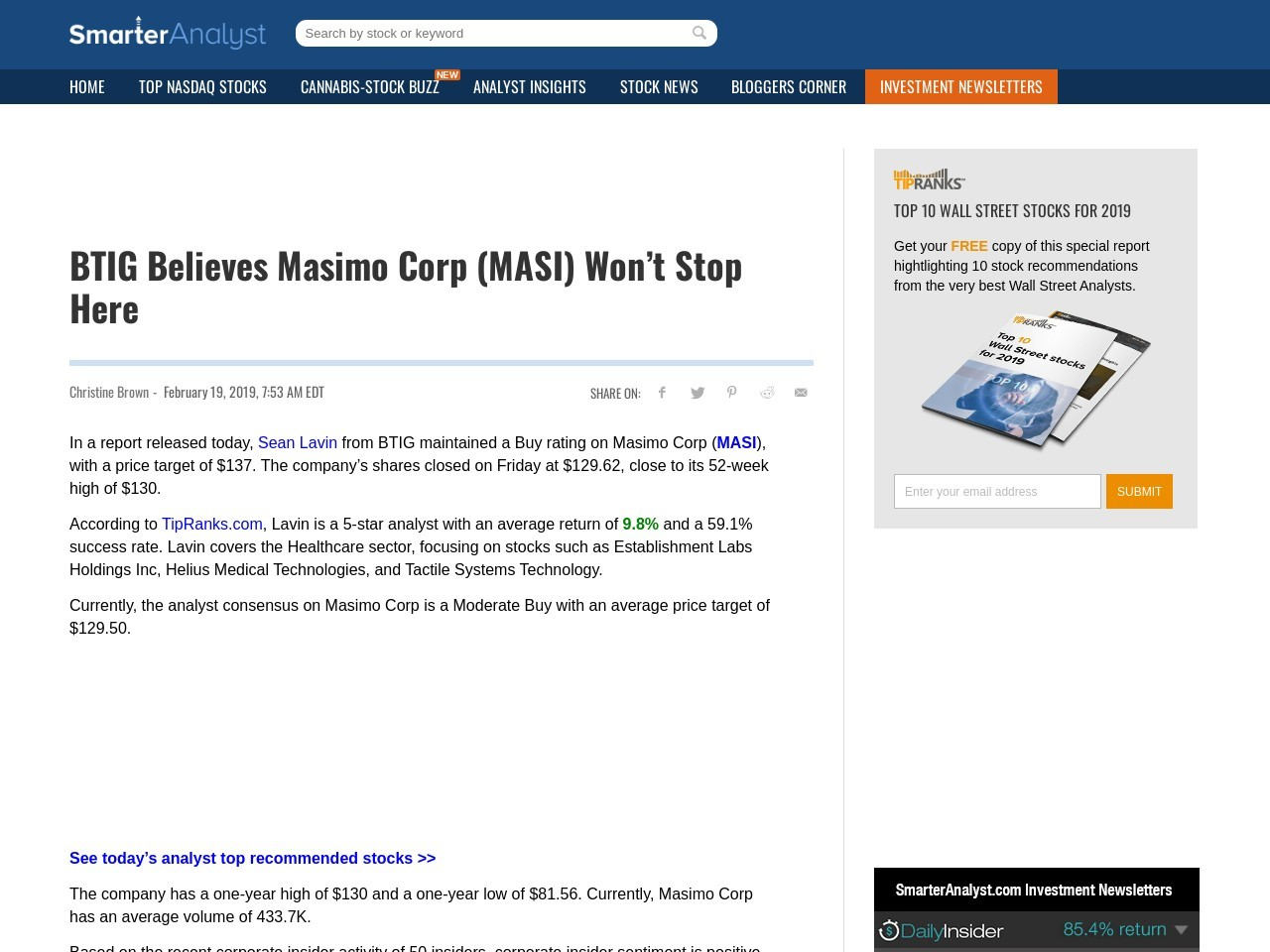 BTIG Believes Masimo Corp (MASI) Won't Stop Here