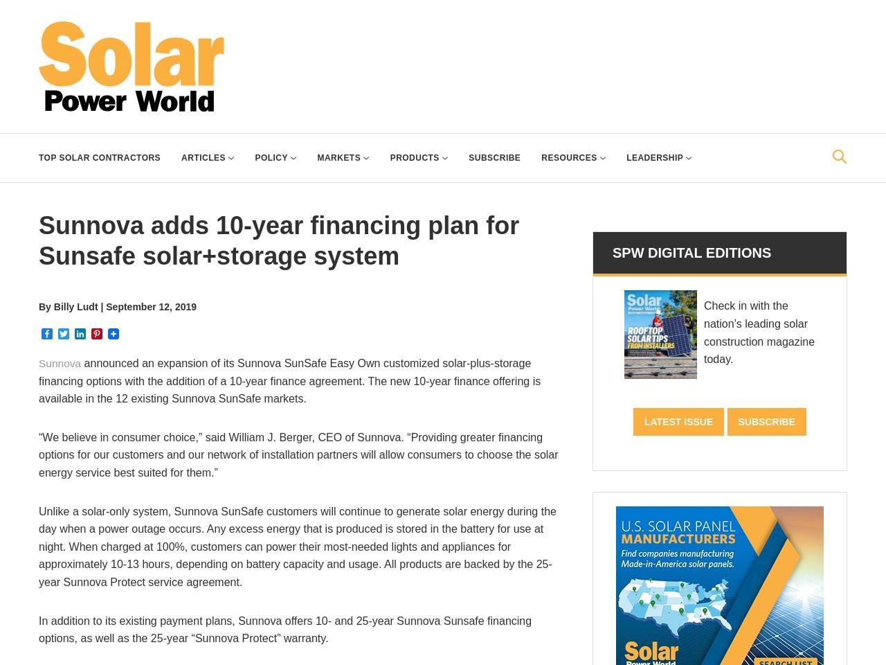 Sunnova adds 10-year financing plan for Sunsafe solar+storage system