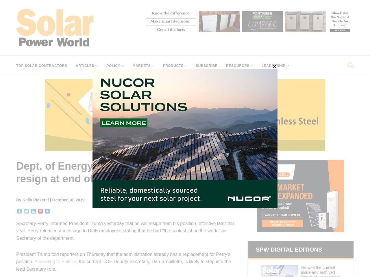 Dept. of Energy Secretary Rick Perry to resign at end of year