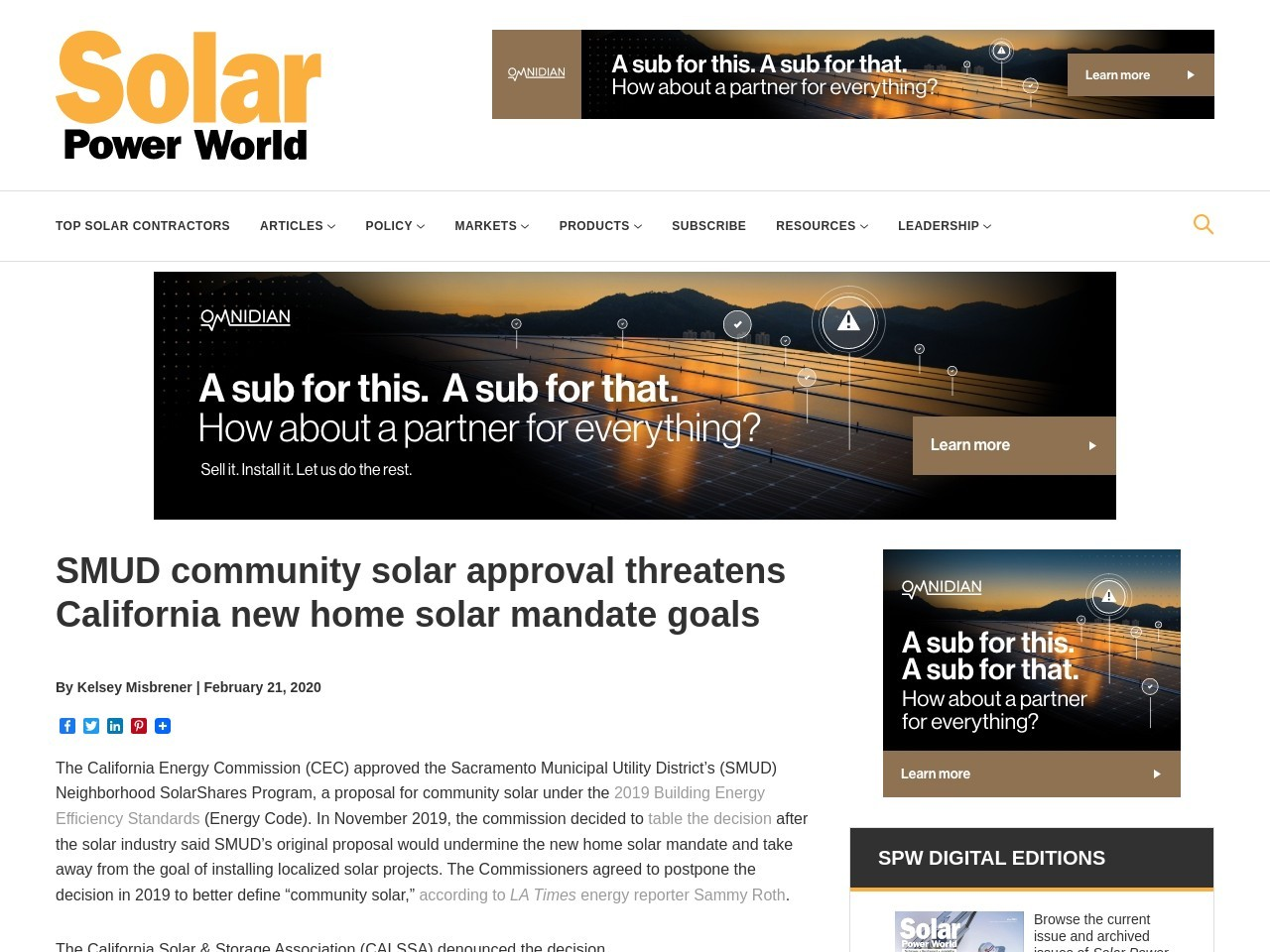 SMUD community solar approval threatens California new home solar mandate goals