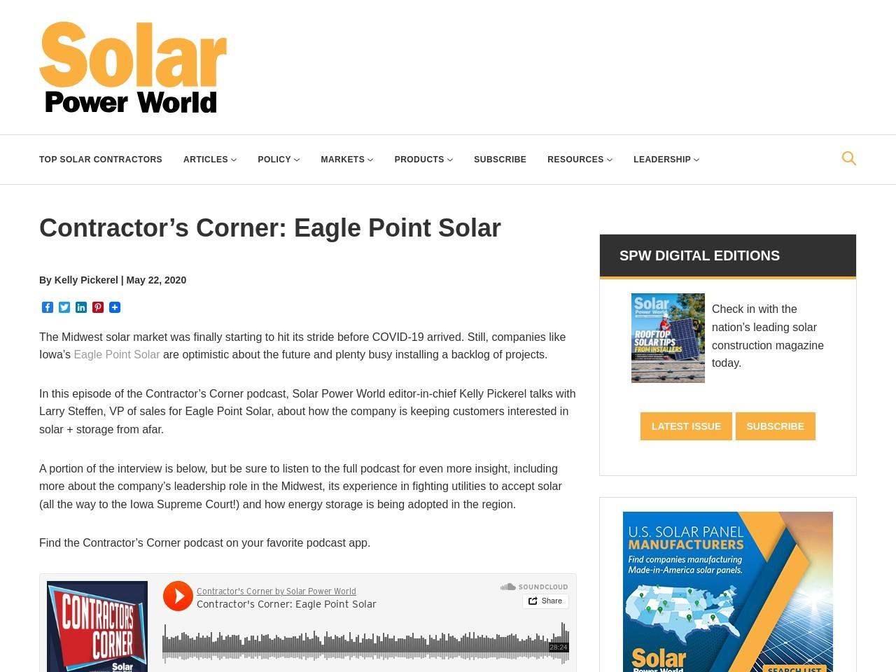 Contractors Corner: Eagle Point Solar