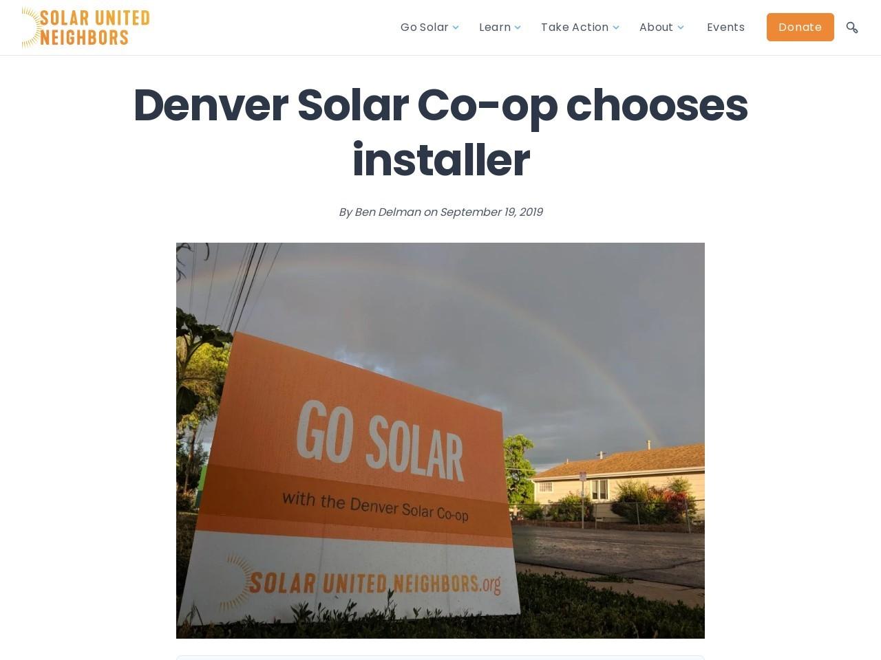 Denver Solar Co-op chooses installer