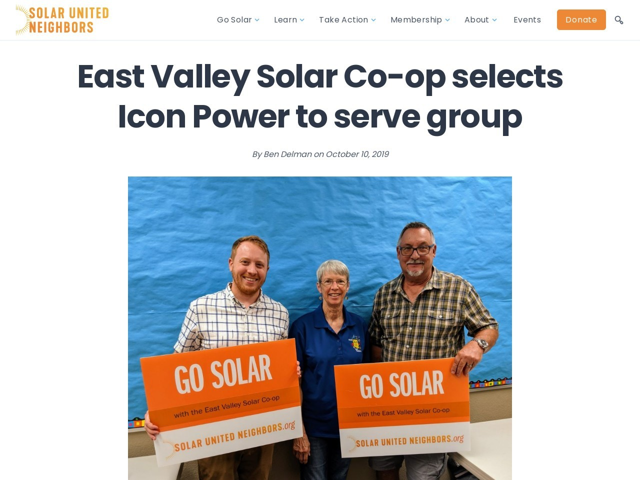 East Valley Solar Co-op selects Icon Power to serve group