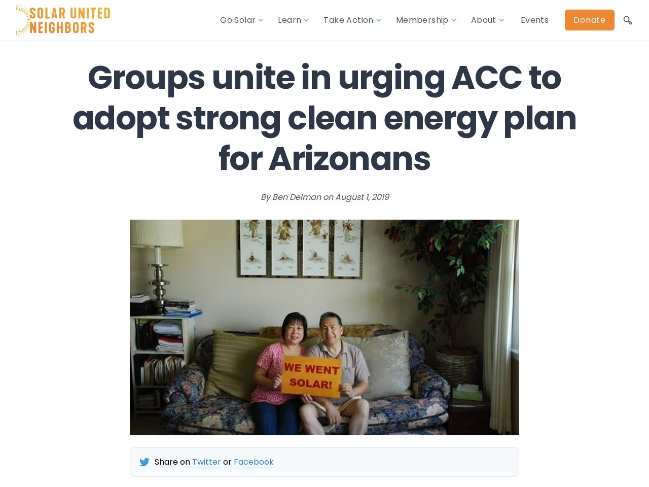 Groups unite in urging ACC to adopt strong clean energy plan for Arizonans