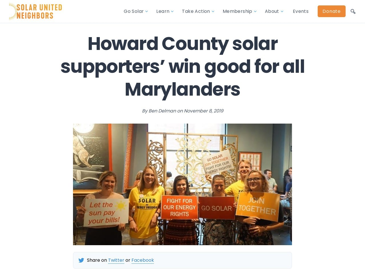 Howard County solar supporters' win good for all Marylanders