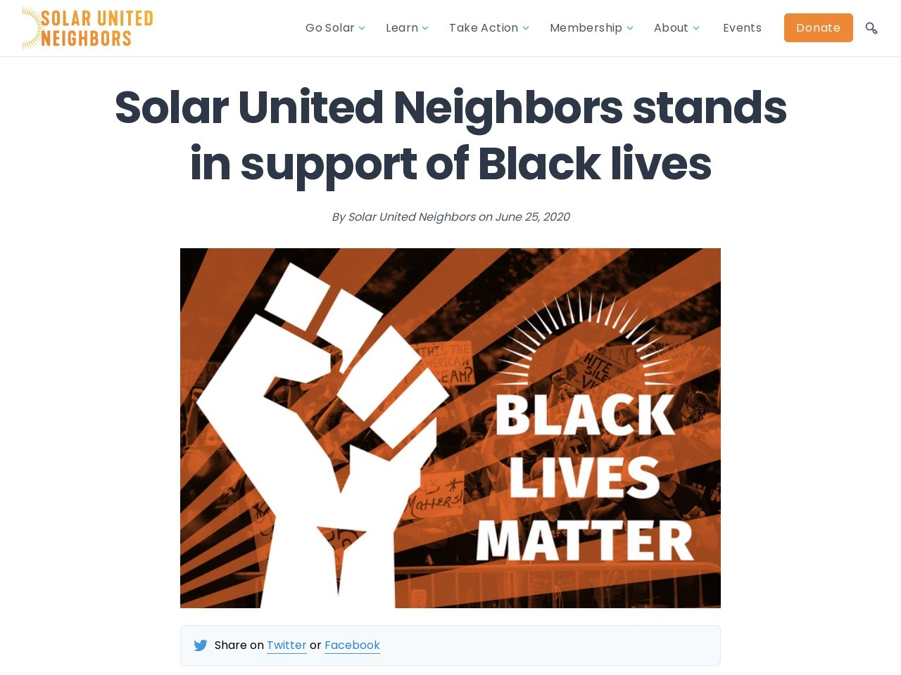 Solar United Neighbors stands in support of Black lives