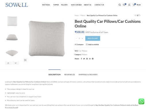 Buy Quality Car Pillows/Car Cushions – SoWell – Best Mattress Brand in India