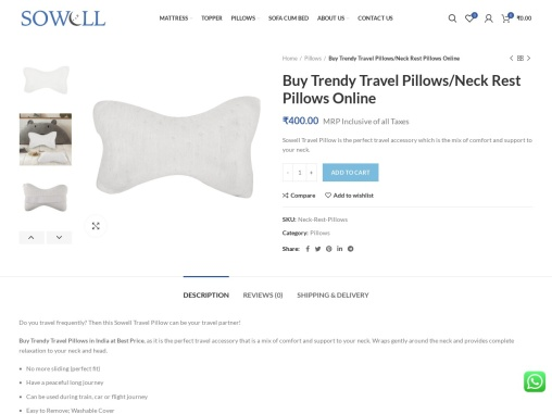 Buy Trendy Travel Pillows/Neck Rest Pillows – SoWell – Best Mattress Brand in India