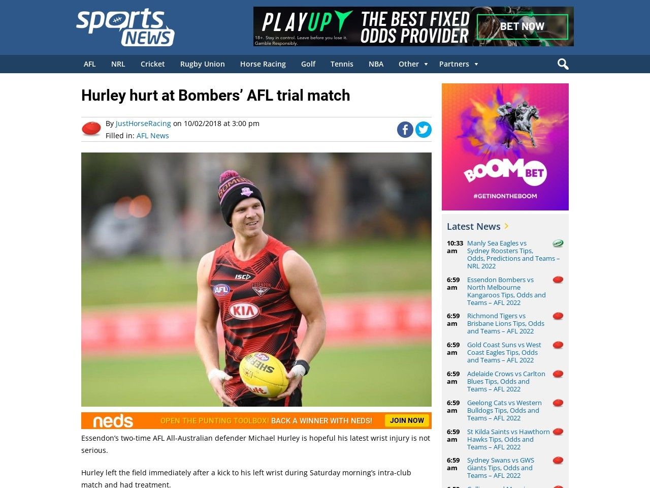 Hurley hurt at Bombers' AFL trial match