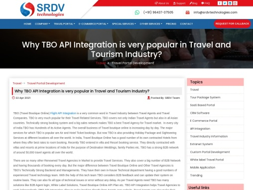 Why TBO API Integration is very popular in Travel and Tourism Industry?