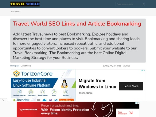 Travel World Article Submit SEO Bookmarking space