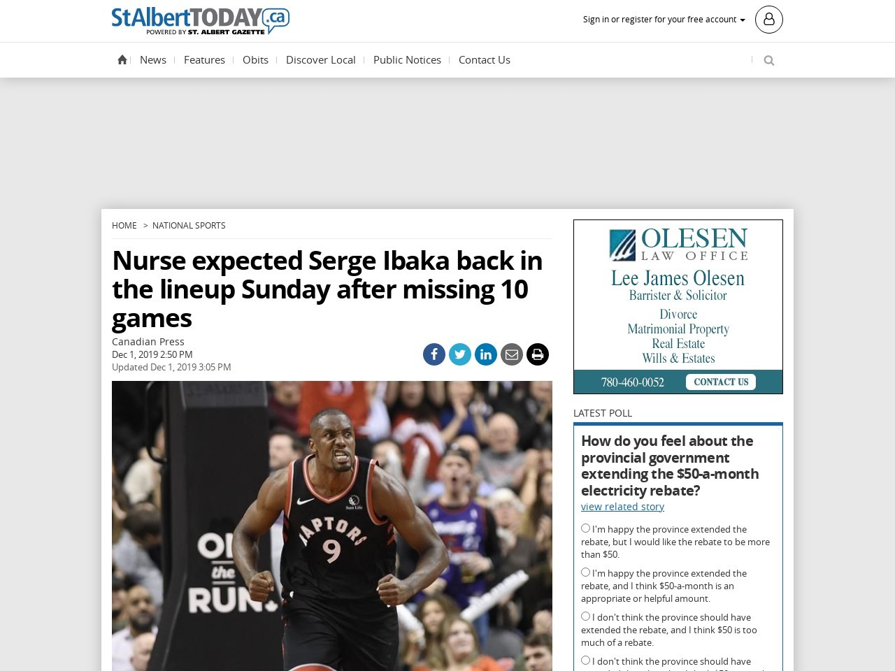 Nurse expected Serge Ibaka back in the lineup Sunday after missing 10…