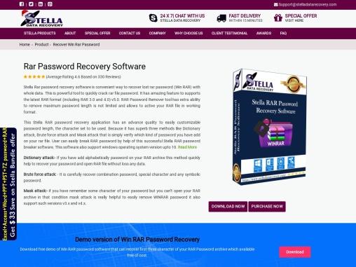stella rar password recovery tool
