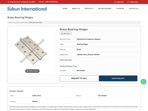 Brass Bearing Hinges Suppliers
