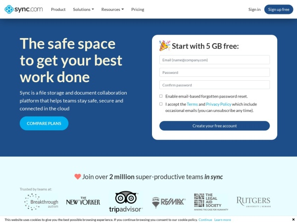Sync  - Best Free Cloud Storage Services (2020)