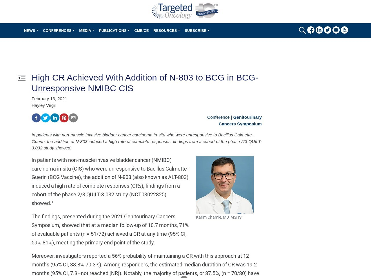 High CR Achieved With Addition of N-803 to BCG in BCG-Unresponsive NMIBC CIS