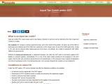 Input tax credit, GST input tax credit, input tax credit under GST
