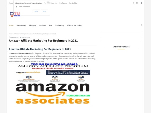 Amazon Affiliate Marketing For Beginners In 2021